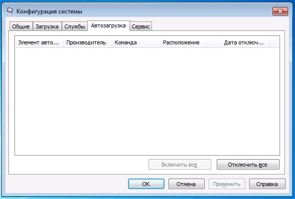 Вкладка «Автозагрузка» в окне «Конфигурация системы» Windows 7
