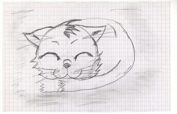 Авторский рисунок спящего котика