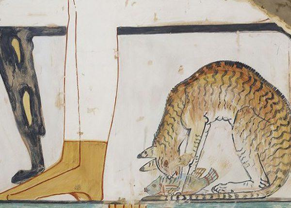 Египетская фреска с изображением кота
