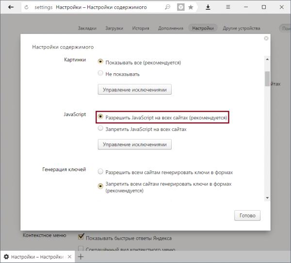 Разрешение исполнения Java-скриптов на любых сайтах