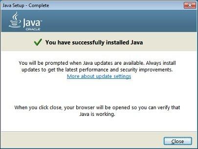 Установка Java завершена