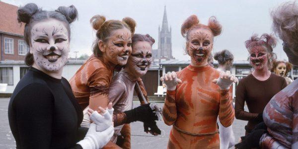 Девушки с раскрашенными под кошечек лицами стоят на улице