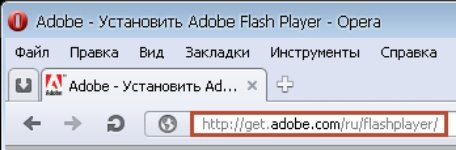 Переход на сайт Adobe в раздел загрузки Flash Player