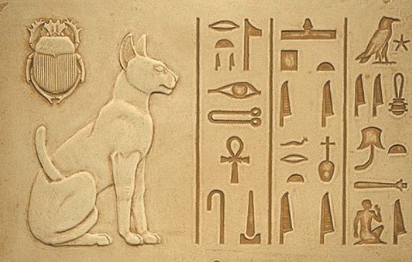 Кошка на древнеегипетской надписи