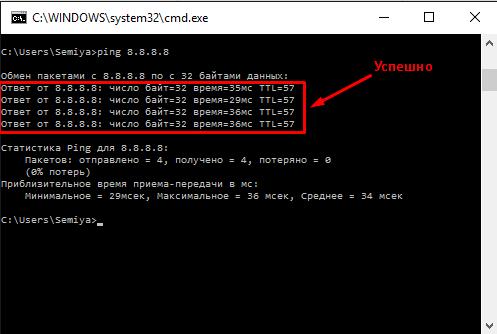 Результат проверки искомого сервера в «Командной строке»