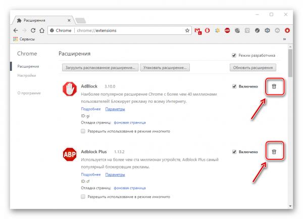 Удаление расширений в Google Chrome