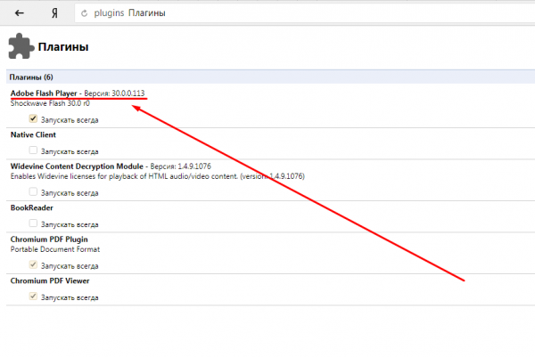 Adobe Flash Player среди плагинов