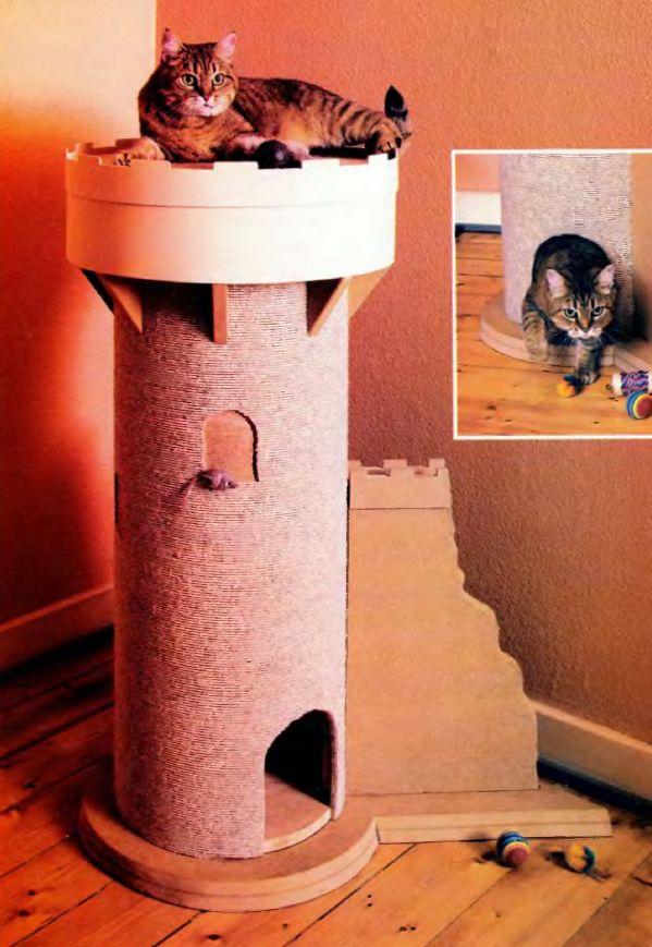 Кошачий домик в углу комнаты