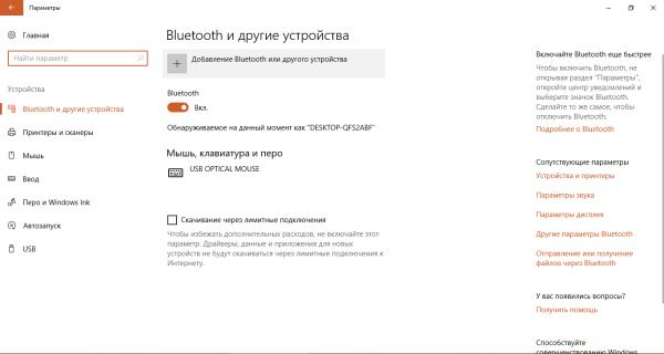 Вкладка Bluetooth и другие устройства