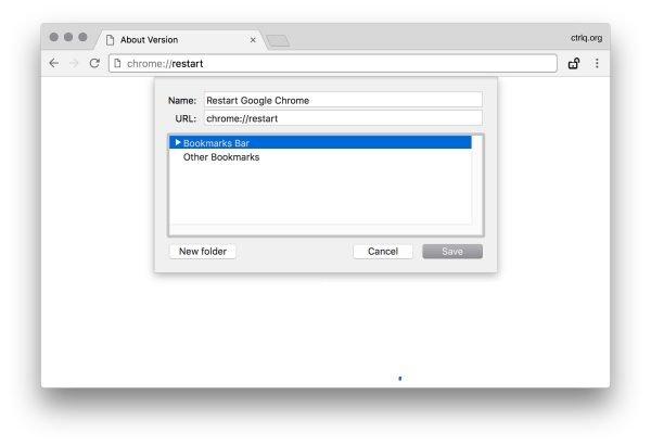 Сохранение команды перезагрузки браузера в закладках
