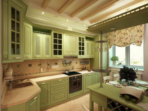 Светлая кухня с зелёным гарнитуром