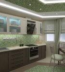 Мозаичное зелёное оформление кухни