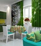 Фотошторы зелёного цвета в кухне-гостиной