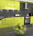 Тёмно-серый и насыщенный зелёный в обстановке кухни