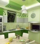 Светлые и тёмные тона зелёного в обстановке кухни