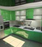 Зелёная мебель на кухне