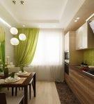 Кухня с фотообоями в зелёных оттенках
