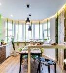 Кухня в эко-стиле с зелёным декором