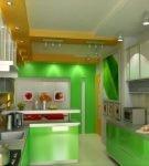 Оранжево-зелёная кухня в квартире
