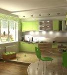Интерьер с зелёной мебелью на кухне