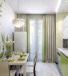 Светлая кухня с ярким декором на стене
