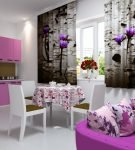 Фотошторы на кухне с фиолетовой мебелью