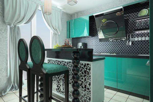 Чёрно-бирюзовая кухня