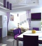 Белый и фиолетовый в интерьере кухне большой площади