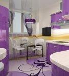 Жёлтый и фиолетовый в кухонном интерьере