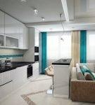 Кухня с бирюзовыми полосами