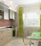 Интерьер кухни в светлой жёлто-зелёной гамме