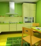 Кухня в жёлто-зелёным оформлением