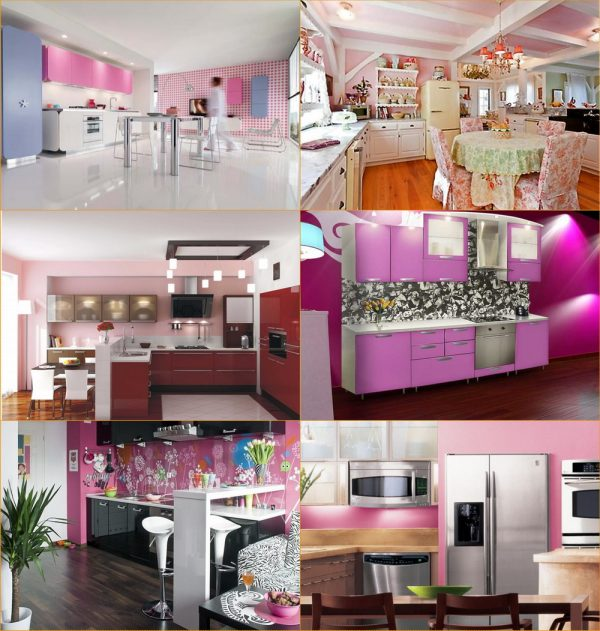 Стены и потолки в розовом дизайне