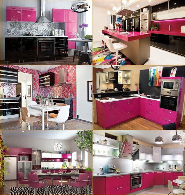 Розовая + чёрно-серая гамма в интерьере