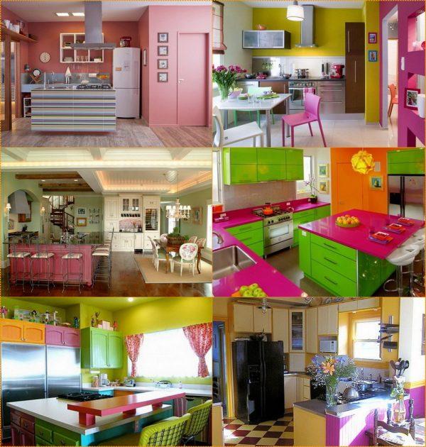 Радужные окрасы в интерьере кухни