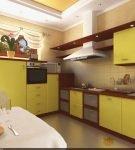 Лаконичная кухня с жёлтыми фасадами шкафов