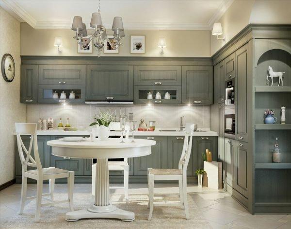 Серая мебель в стиле кантри для кухни