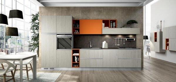 Кухня со светло-серым полом в стиле модерн