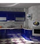 Кухня с геометрическим узором на полу