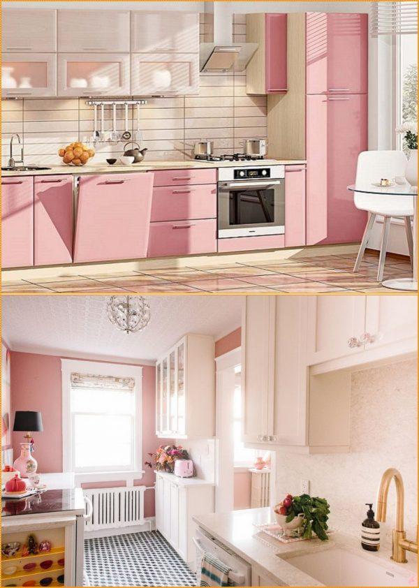 Пример использования пастельно-розовых окрасов в кухне