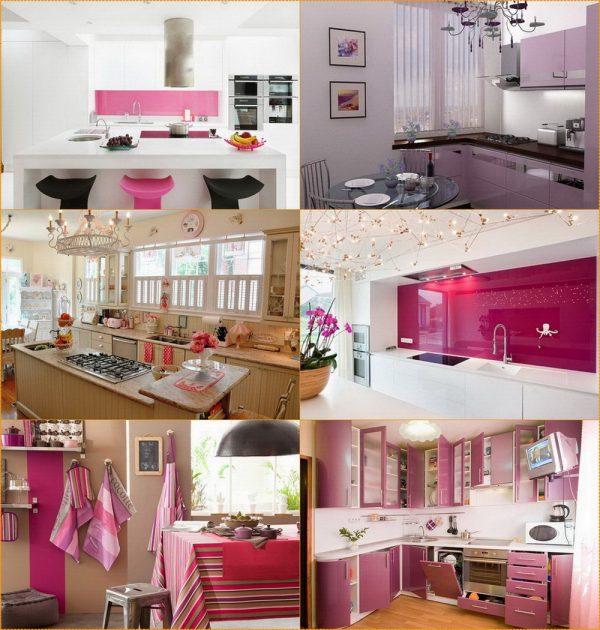Использование розового цвета в интерьере кухни