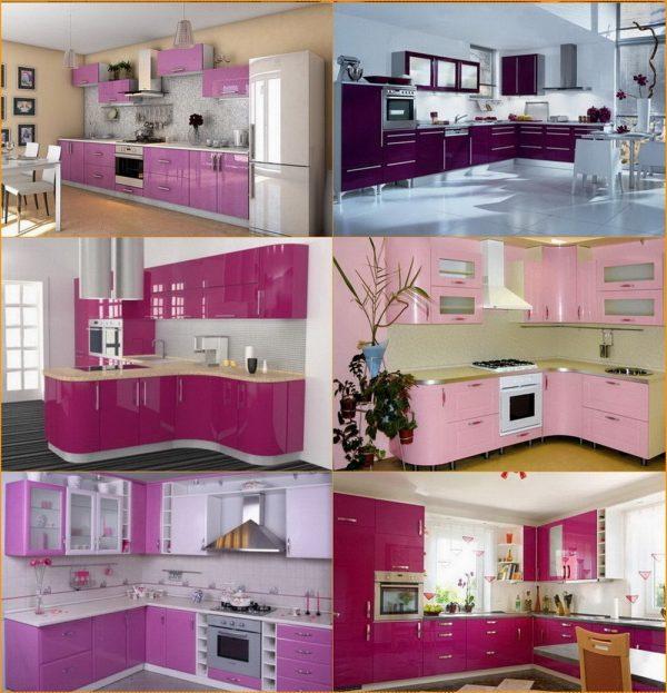 Розовая мебель для кухни