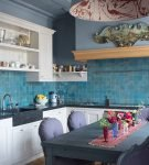 Бирюзовая плитка на кухне