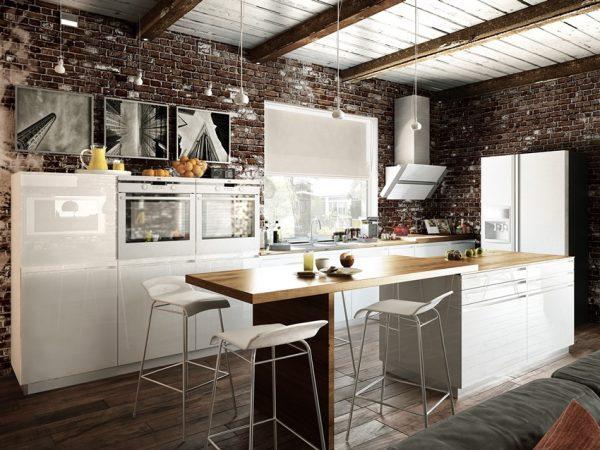 Интерьер в стиле лофт для кухни