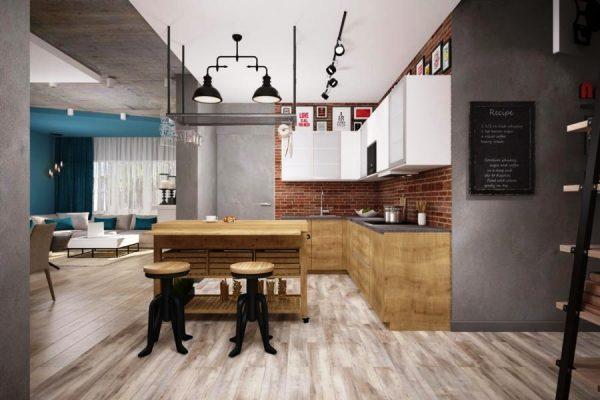 Кухня-гостиная с интерьером в стиле лофт