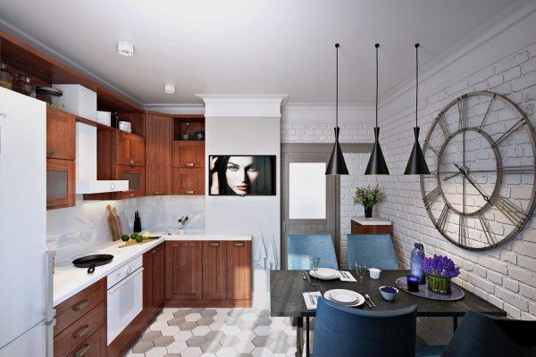 Кухня с интерьером в стиле лофт и оригинальным декором на стене