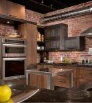 Отделка стен в квартире на кухне в стиле лофт