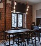 Кирпичная стена в кухня стиля лофт