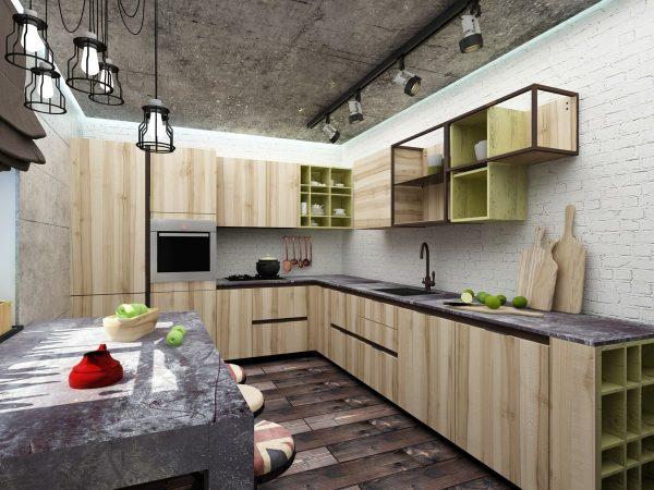 Полки и шкафы на кухне с оформлением в стиле лофт