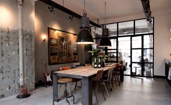 Освещение на кухне в стиле лофт в частном доме